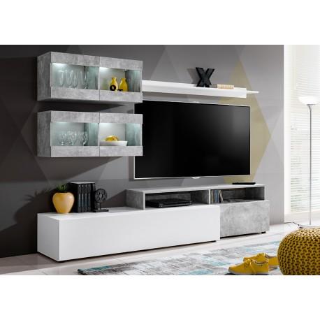 meuble tv gris et blanc avec eclairage lumineux fares cbc meubles
