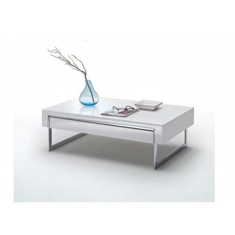 table basse design blanc laque et metal cbc meubles