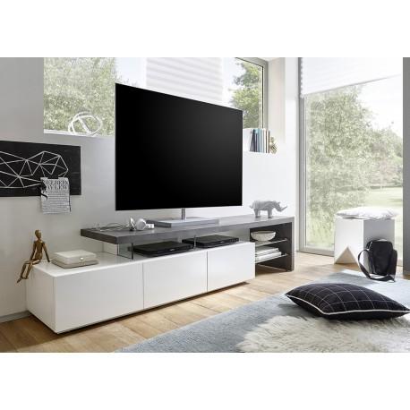 meuble tv design effet beton et blanc laque mat 3 tiroirs cbc meubles