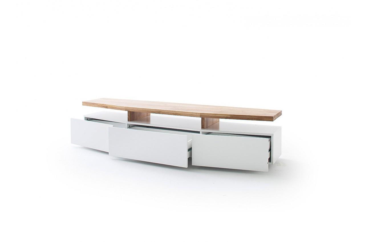 meuble tv design chene massif et blanc
