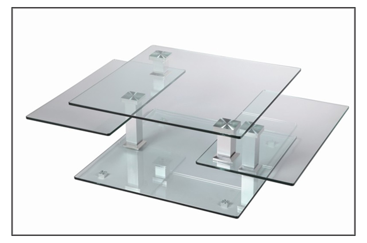 Table Basse Design Carre en Verre Extensible  CbcMeubles