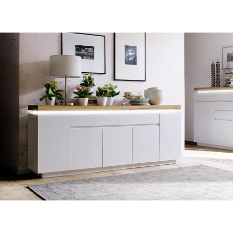 meuble buffet 2 m blanc mat et bois lumineux cbc meubles