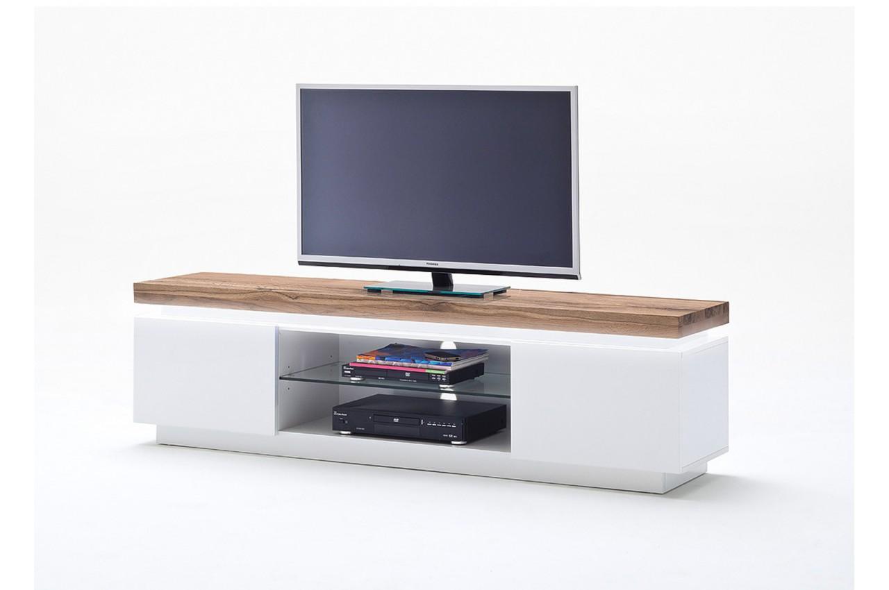 Meuble TV Design Laqu Blanc Mat Et Bois Led Cbc Meubles