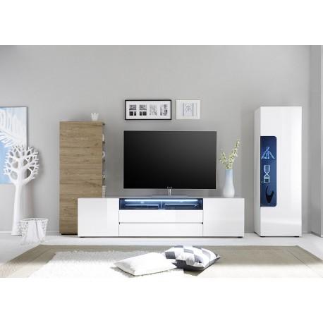 meuble tv mural design laque blanc et chene cbc meubles