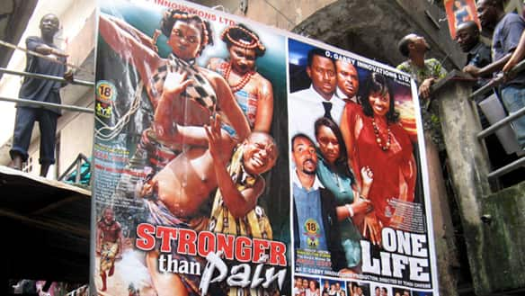 Nigerian film posters seen at Idumota market in Lagos, Nigeria.  |  Image source & courtesy - cbc.ca  |  Click for larger image.