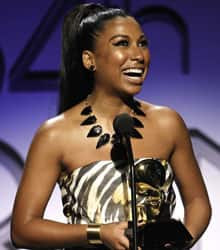 Toronto singer Melanie Fiona accepts the award for traditional R&B performance  in Los Angeles.