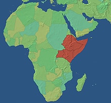 The Horn of Africa region, highlighted above, is the poorest part of the African continent. It includes the countries of Djibouti, Ethiopia, Eritrea, Kenya, Somalia, Sudan and Uganda.