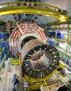 The magnet core of the world's largest superconducting solenoid magnet, seen in 2007, is part of the Large Hadron Collider particle accelerator. Abnormally high resistances were found in the accelerator's high-current superconducting electrical connections and have since been repaired.