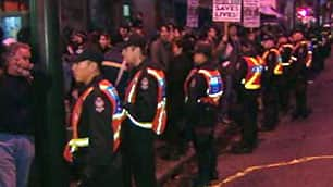 More than 100 police officers helped city officials shut down a concert Thursday night in the 100 block of E. Hastings Street.