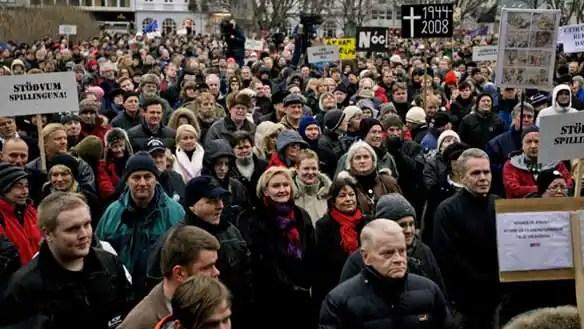 Protesters in Rekyavik