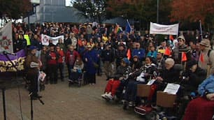 Hundreds gathered outside TransLink headquarters in Burnaby on Saturday to rally for HandyDart workers preparing to strike.