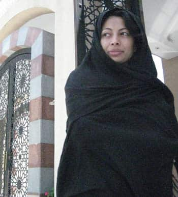 Natasha Fatah at the King Fahd mosque in Buenos Aires. Not her usual attire. (Photo courtesy Chris Kayaniotes)