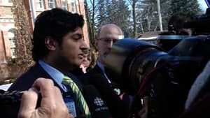 Former Conservative MP Rahim Jaffer speaks outside an Orangeville, Ont., courthouse in March after pleading guilty to careless driving.