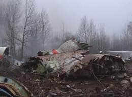 An image from Polish television's TVP shows a firefighter amid the  wreckage of the crashed presidential aircraft.