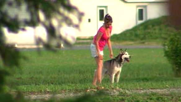 One of the three huskies that was in the house at the time of the incident is seen with its owner Monday night.
