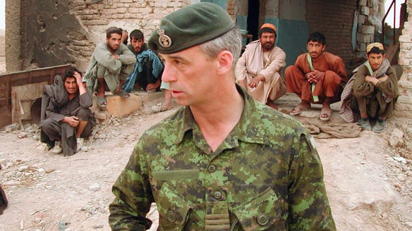 Pat Stogran is shown near Kandahar in April 2002 when he was the commander of Canadian Forces in Afghanistan and before he was appointed the veterans ombudsman. Stogran reacted Tuesday to the news that he won't be reappointed for a second term, criticizing the government's treatment of veterans.