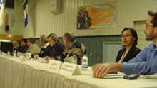 Panel members at the Nunavut government's uranium forum Thursday night in Iqaluit.