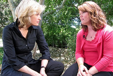 In this July 1, 2011, photo, ABC News anchor Diane Sawyer, left, speaks with Jaycee Dugard in Ojai, Calif.