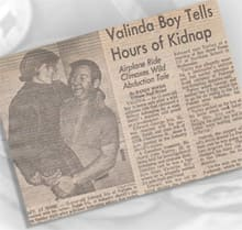 A newspaper report on Richard Turley's kidnapping of Ed Iris.