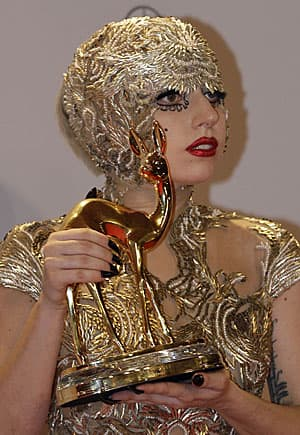 What's in a name? Lady Gaga accepting a Bambi media award in Germany in November 2011.