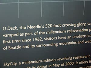 The 'crowing' glory of the Seattle Space Needle. Not something you can fix with a felt marker.