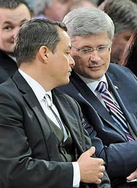 AFN Chief Shawn Atleo and Prime Minister Stephen Harper at a Crown and First Nations gathering in Ottawa in January 2012.