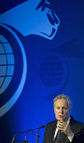 Quebec Premier Jean Charest, shown here giving a speech in Montreal earlier this month, is attending the UN summit on sustainable development in Rio.