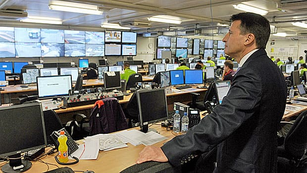 All is under control, says former runner Sebastian Coe, the head of the London Olympic Committee, shown here at the security control room at Olympic Park in Stratford.