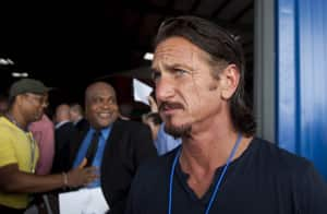 U.S. actor Sean Penn leaves at the end of the inauguration ceremony of the Caracol Haiti Industrial Park on the outskirts of Cap Hatien on  Haiti's north coast, Oct. 22,  2012. U.S. Secretary of State Hillary Clinton and her husband Bill led a star-studded delegation to inaugurate the new industrial park at the centre of U.S. efforts to help the country rebuild after the 2010 earthquake.
