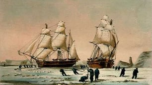 HMS Investigator, left, is trapped in ice with HMS Enterprise in a painting by Lt. W.H. Brown of the Royal Navy. The ship was eventually abandoned and its crew rescued by a Royal Navy sledge team.