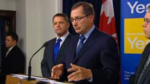 Alberta Premier Ed Stelmach (centre) said the meeting with Cameron was 'respectful'. (CBC)