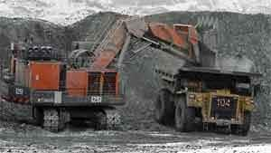 An excavator loads a dump truck at Kumtor open pit gold mine in the Tien Shan mountains, 350 kilometres southeast of the capital Bishkek near the Chinese border, March 14.