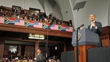 U.S. President Barack Obama speaks at the University of Cape Town on Sunday.
