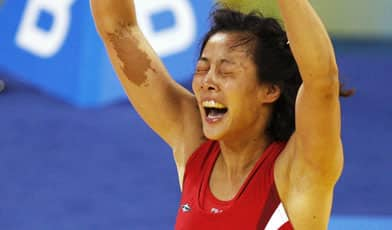 Carol Huynh celebrates her semifinal win