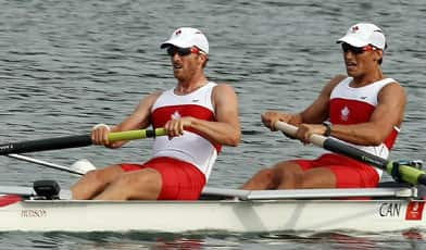 David Calder and Scott Frandsen (left) won silver in rowing final