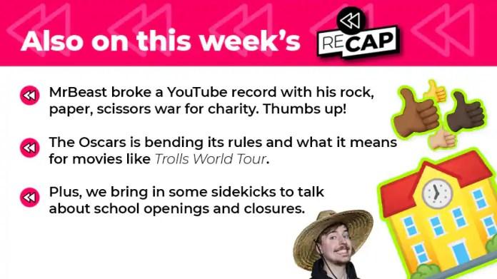 MrBeast a battu un record YouTube avec sa guerre du rock, du papier et des ciseaux pour la charité. Pouces vers le haut! Les Oscars modifient ses règles et ce que cela signifie pour des films comme Trolls World Tour. De plus, nous amenons quelques acolytes pour parler des ouvertures et fermetures d'écoles.