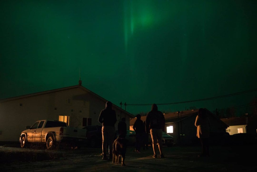 Gazing at the northern lights. (Ed Ou/CBC)
