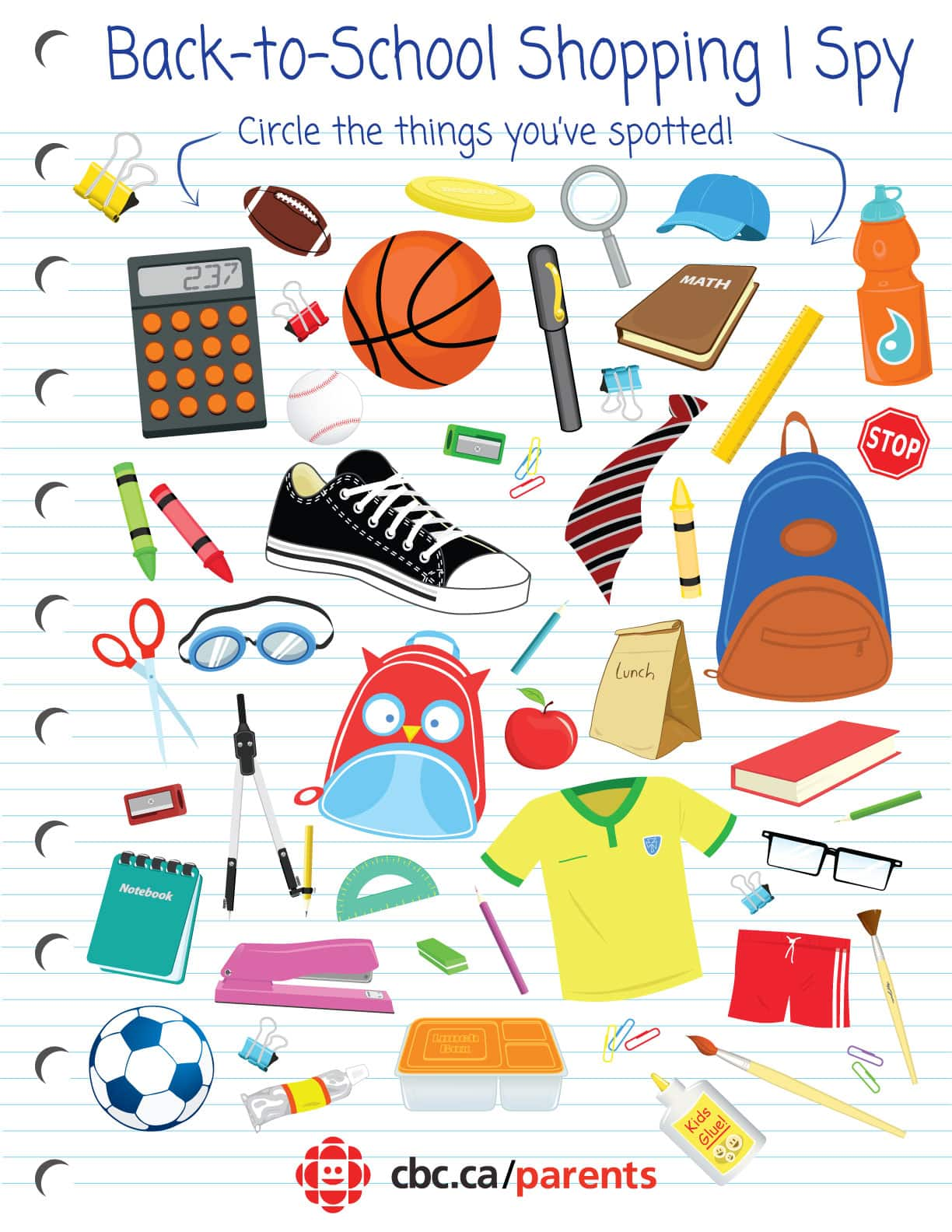 Back To School Shopping I Spy Printable Game