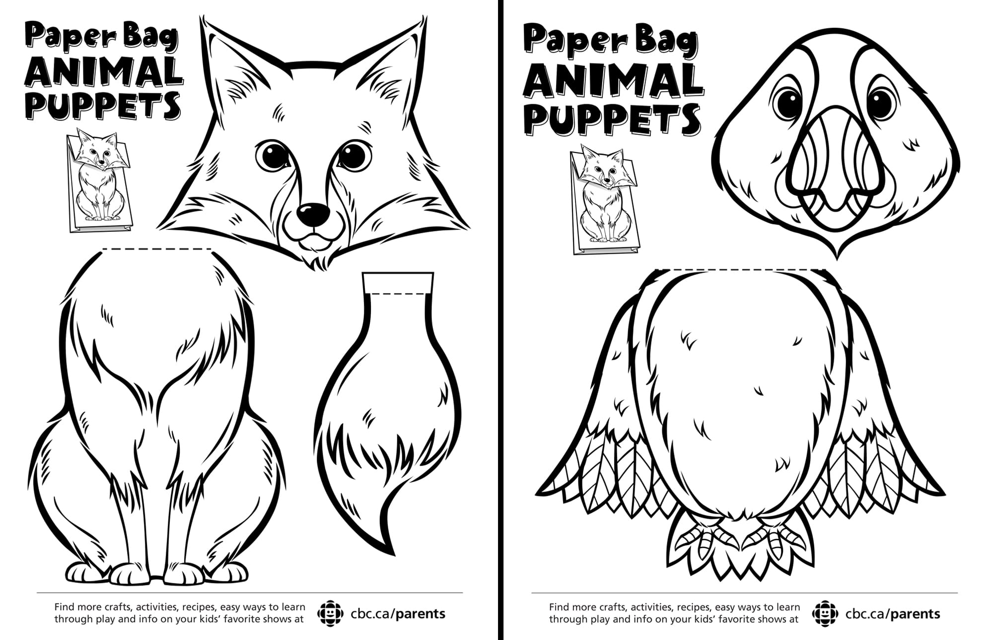 Canadian Animal Paper Bag Puppets