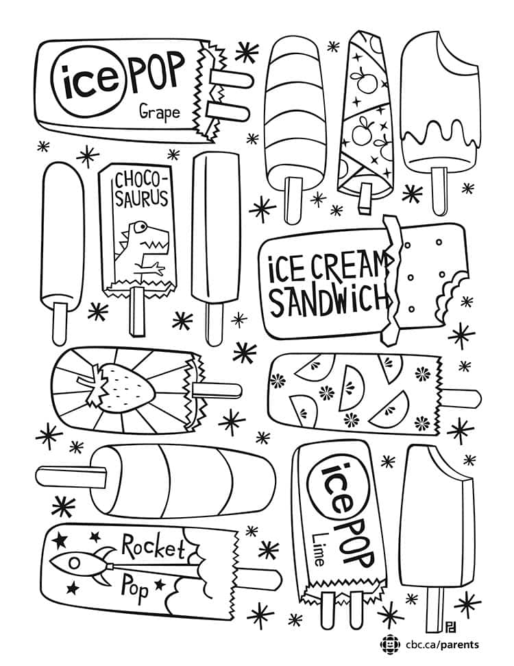 Ice Pop Colouring Printable: Take a Break and Colour