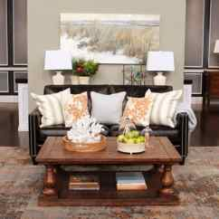 Living Room Decorating Ideas With Leather Furniture Shelves Decor What To Do A Sofa Steven And Chris Featuring Brown