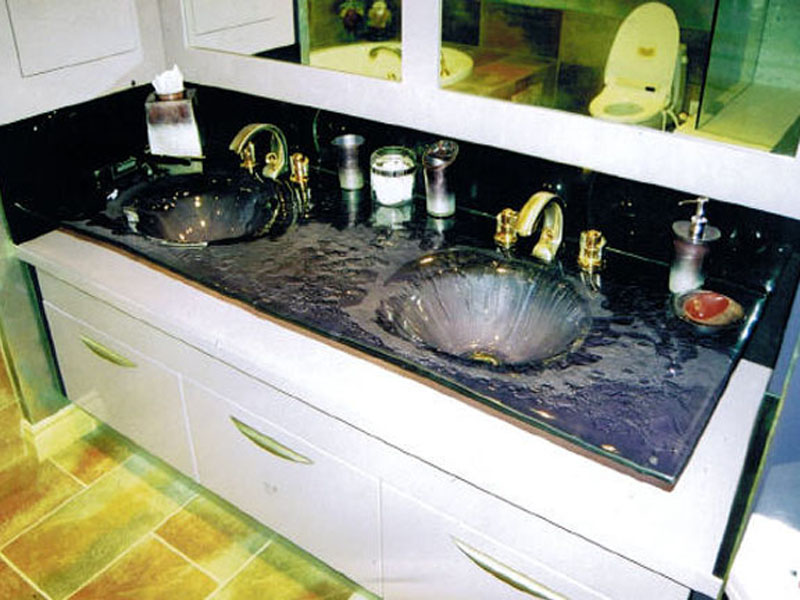 DOUBLE INTEGRATED GLASS SINK IS36  CBD Glass