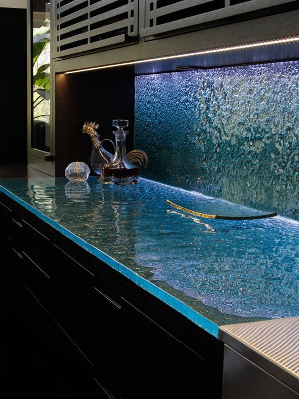 Glass Countertops Amp Glass Backsplashes Were Made For Each
