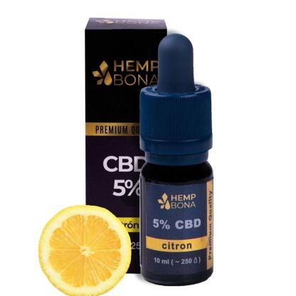 CBD kvapky HempBona, 5 %, príchuť Citrón, 10ml