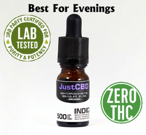 500mg Just CBD Oil Indica is Relaxing and Sedating NO THC Great for combating Anxiety, Pain, and Inflammation Sublingual Drops – Isolate