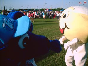 Thunder Dog with a mascot