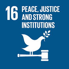 Image of Sustainable Development Goals number 16, Peace, Justice and Strong Institutions