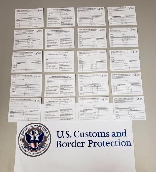 U.S. Customs and Border Protection officers in Pittsburgh seized 70 counterfeit COVID-19 vaccination cards on September 7 that shipped from China and were destined to an address in Beaver County, Pa.