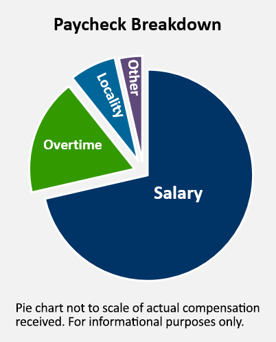 Sample pay check break down pie chart. 68% salary, 25% overtime, 5% locality, 2% other
