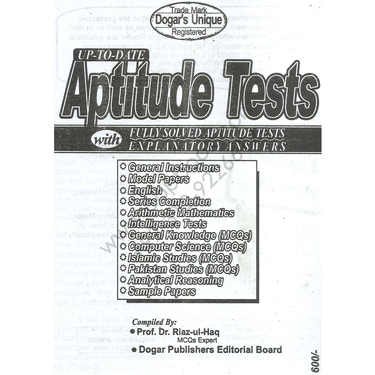 Dogar's Unique Aptitude Tests BCAT By Prof. Dr. Riaz-ul